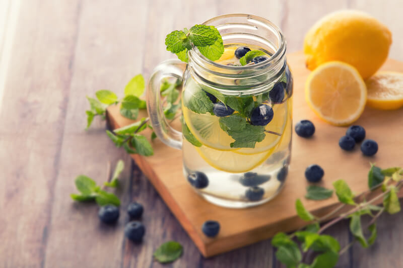detox water with mint and blueberries