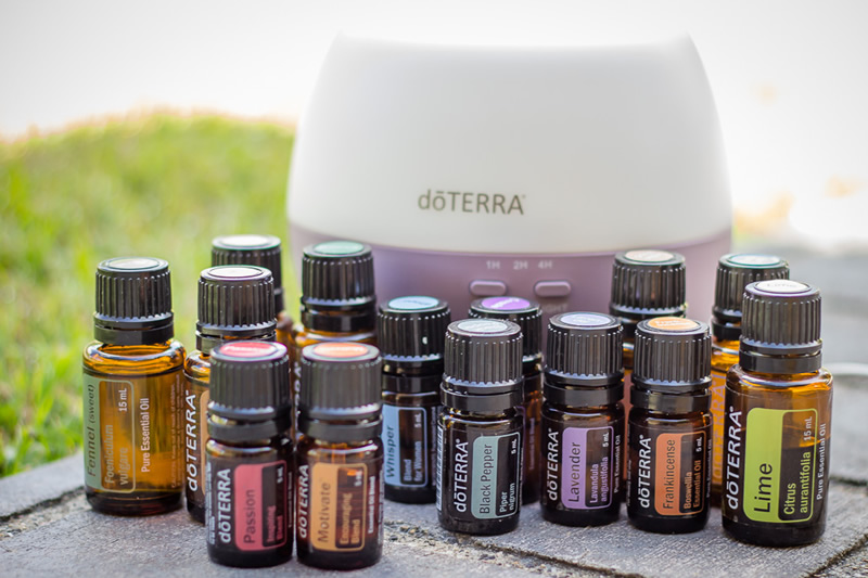 Bottles of Essential Oils with Humidifier